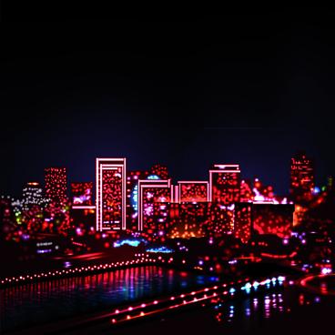 night city with neon design vector
