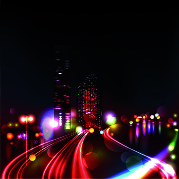 night city with neon design vector