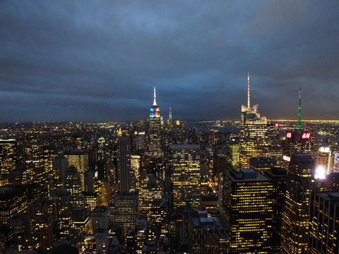 night falls over new york