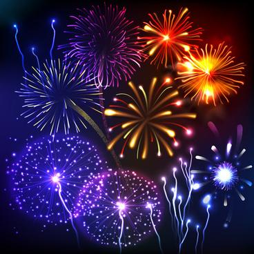 night fireworks elements vector background