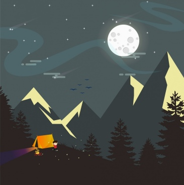 night mountain landscape drawing moonlight tent icons decor