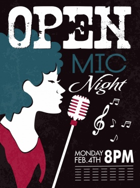 night music banner female singer icon retro design