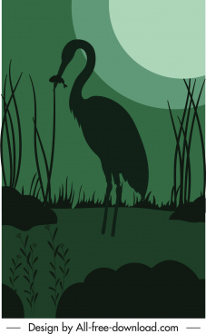 night nature painting dark silhouette moonlight crane sketch