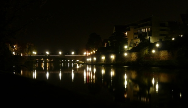 night photograph lights river