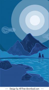 night scenery painting retro handdrawn sketch