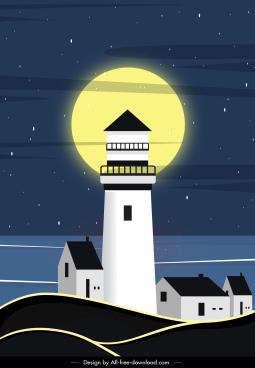 night sea scene painting moon lighthouse sketch