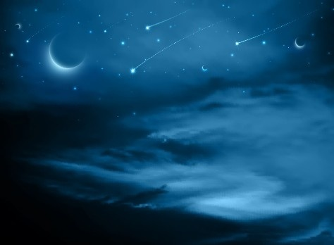 night sky with meteor vector background