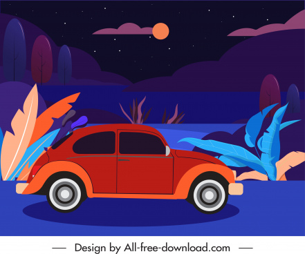 night trip scene background colorful dark classical design