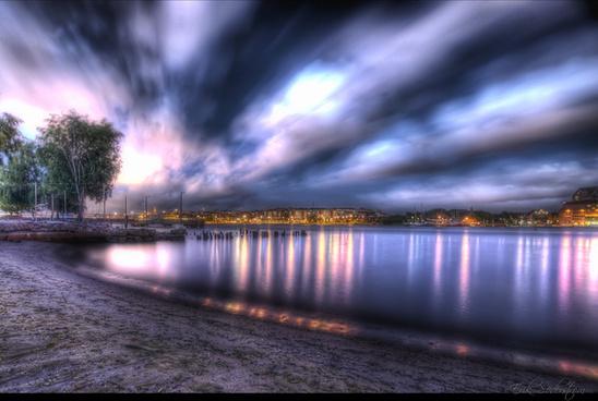 nighttime beach hdr