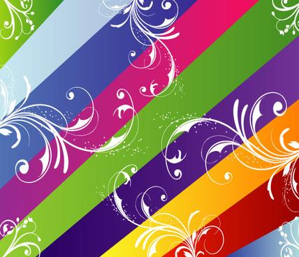 nine coloerd lines swirls vector