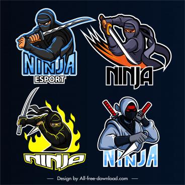 ninja icons fighting gesture dynamic design