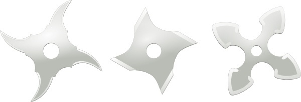 Ninja Throwing Stars Weapons clip art