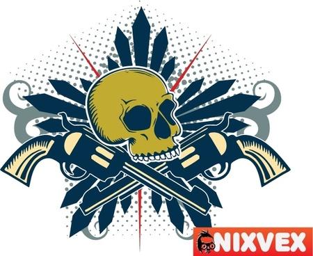 NixVex Skull with Guns Free Vector