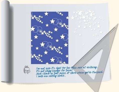 NixVex Star Pattern on Drawing Board Free Vector