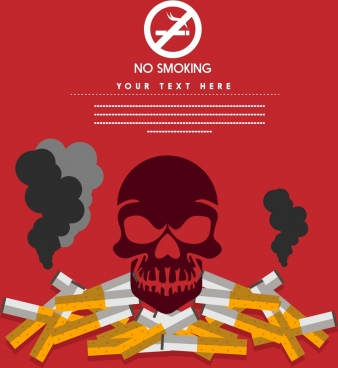 no smoking banner skull silhouette cigarette stack icon