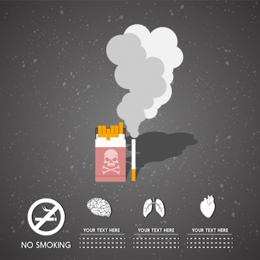 no smoking infographic tobacco organ icons ornament