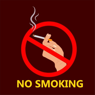 no smoking poster hand holding cigarette sign icon