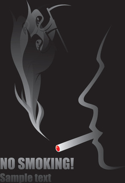 no smoking warning elements vector set