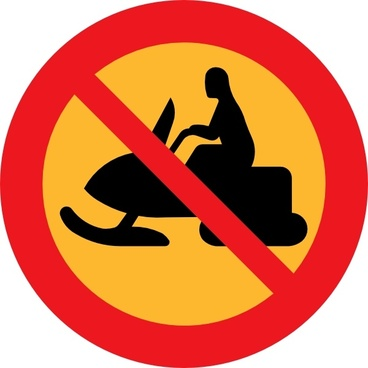 No Snowmobiles Sign clip art