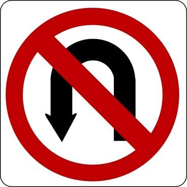 No U Turn Sign clip art