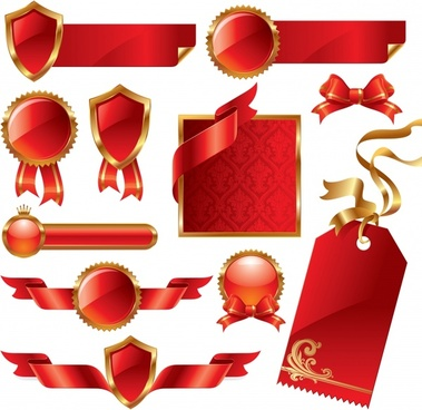 christmas sales design elements shiny luxury red symbols