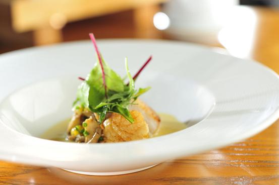 nobu pan seared scallop maitake mushroom corn miso broth