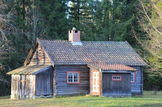 norway log cabin forest
