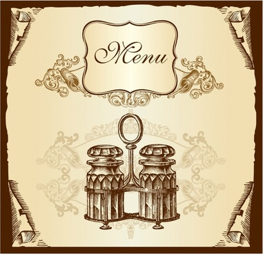 menu cover template retro symmetric ornament