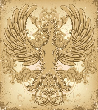 powerful background phoenix icon classical european design