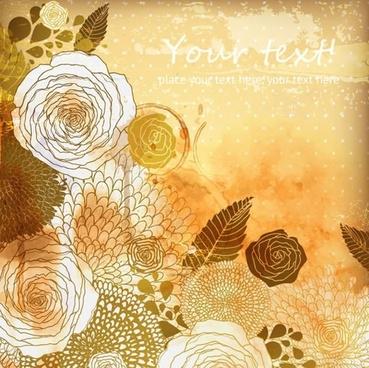 flowers background retro grunge handdrawn sketch