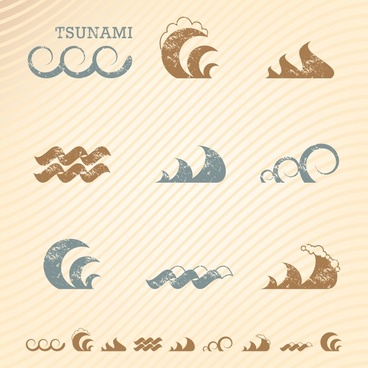 waves icons colored flat retro sketch