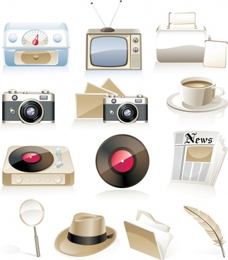 nostalgic objects icons colored 3d design