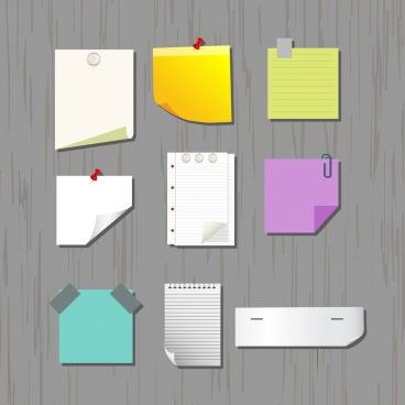 note paper icons sets various colored types decoration
