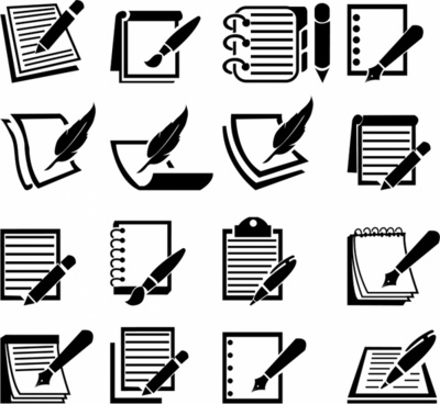 Notebook and Pen icon set