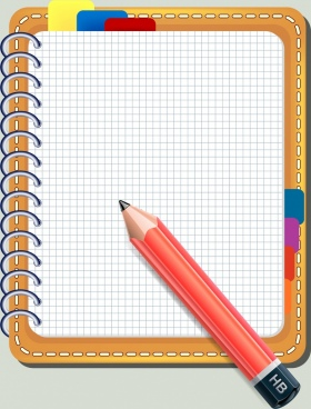 notebook background colored 3d design pencil icon decor