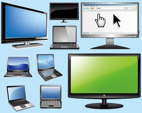 notebook computers and lcd monitors vector