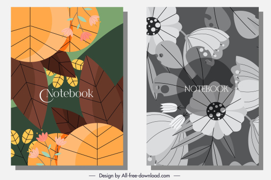 notebook cover background classical flat design plants decor