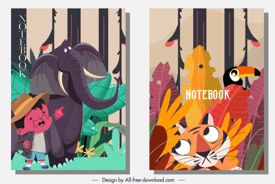 notebook cover template natural forest elements cartoon characters