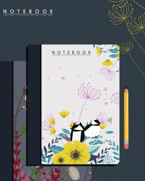 notebook cover template nature theme flower bird decoration