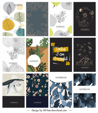 notebook cover templates classic handdrawn decor