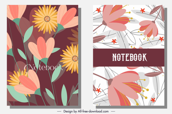 notebook cover templates colorful classic botany decor