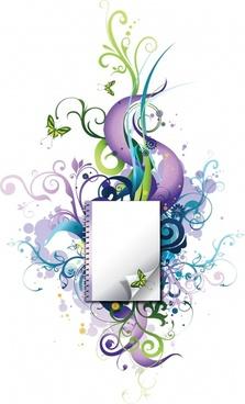 decorative background template modern notebook leaves butterflies doodles