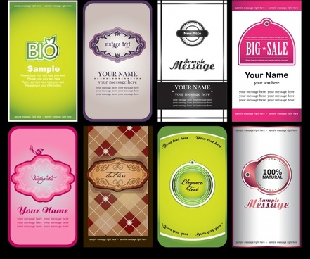 notes business card labels vector