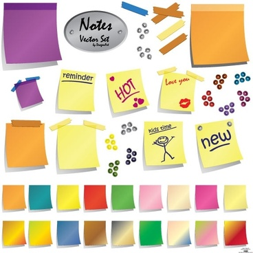 note sticker sets vector illustration in color style