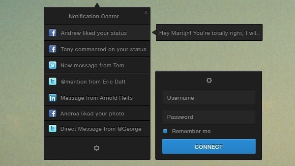 Notification Centre UI PSD & CSS