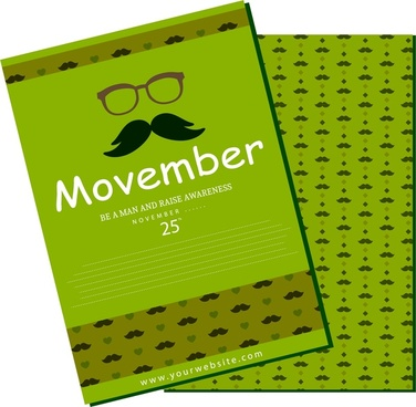 november mustache design brochure in green repeating pattern