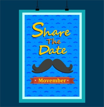 november mustache poster in blue design