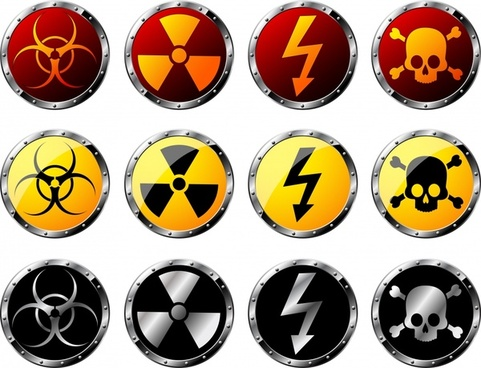 radiation hazard warning signs modern shiny colored circles
