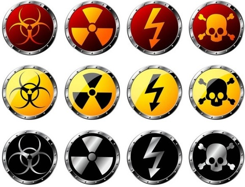 nuclear radiation hazard warning signs vector
