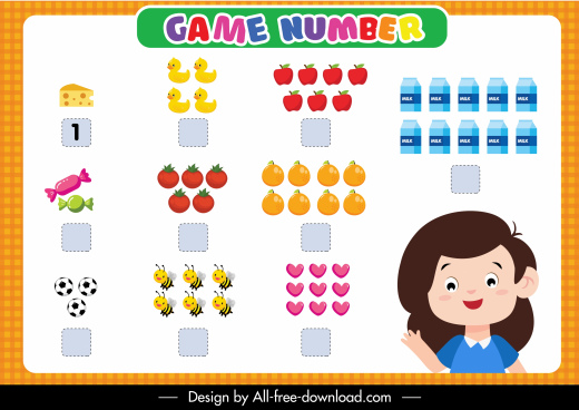 number game education template colorful cute flat cartoon